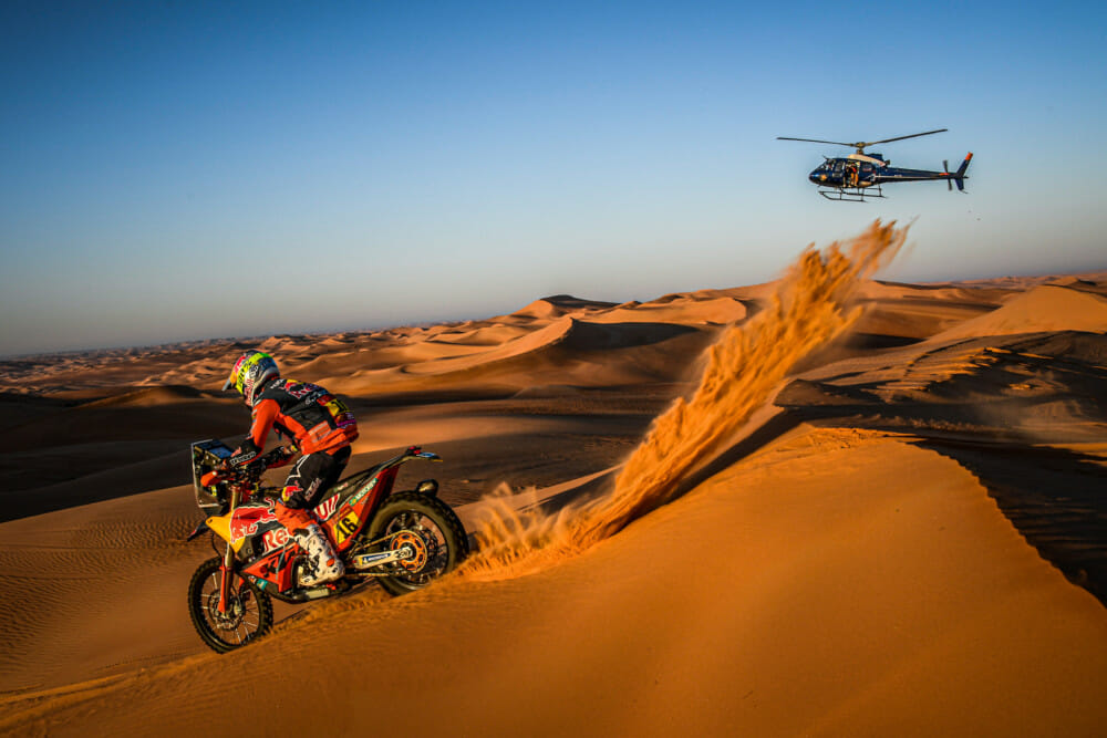 Luciano Benavides on his KTM of the Red Bull KTM Factory Team rides in the Empty Quarter during stage 11 of the Dakar Rally, between Shubaytah and Harad, Saudi Arabia, on January 16, 2020. Photo Courtesy of Eric Vargiolu / DPPI / Red Bull Content Pool