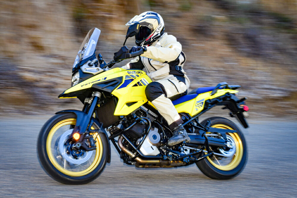Suzuki did a good job hiding the large 5.3-gallon fuel tank of the 2020 Suzuki V-Strom 1050XT, you hardly know it's there.