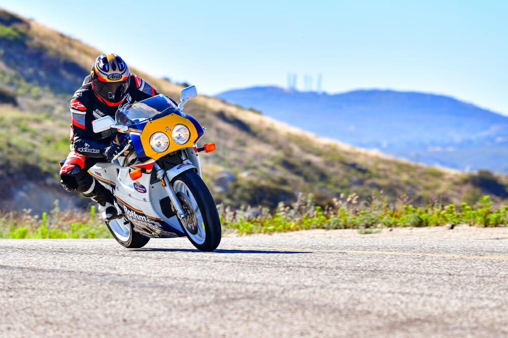 Cornering is perfect on the 1990 Honda RC30.