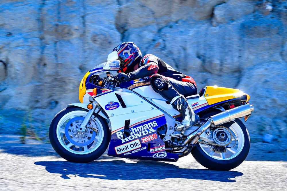 Riding a restored 1990 Honda RC30.