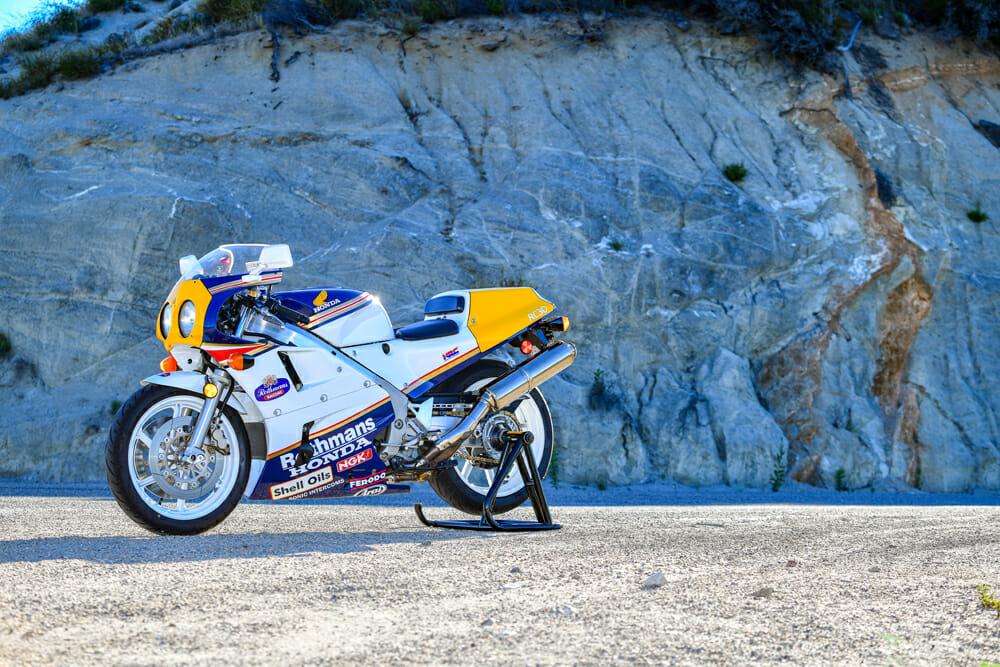 A restored 1990 Honda RC30 in Joey Dunlop color scheme