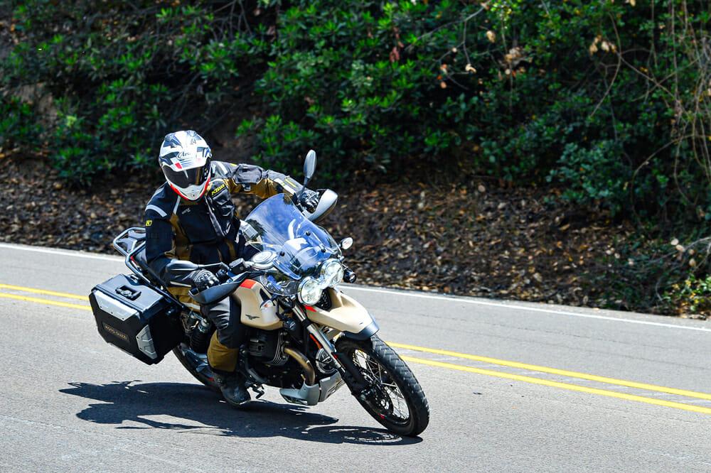 The 2020 Moto Guzzi V85 TT Travel on pavement.