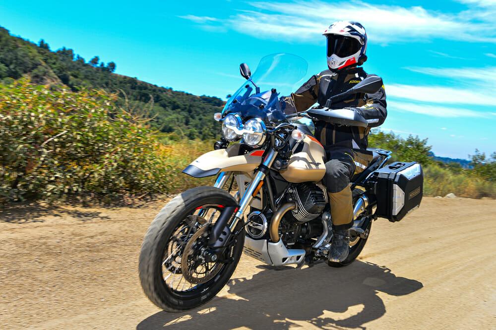Front view of the 2020 Moto Guzzi V85 TT Travel off pavement.