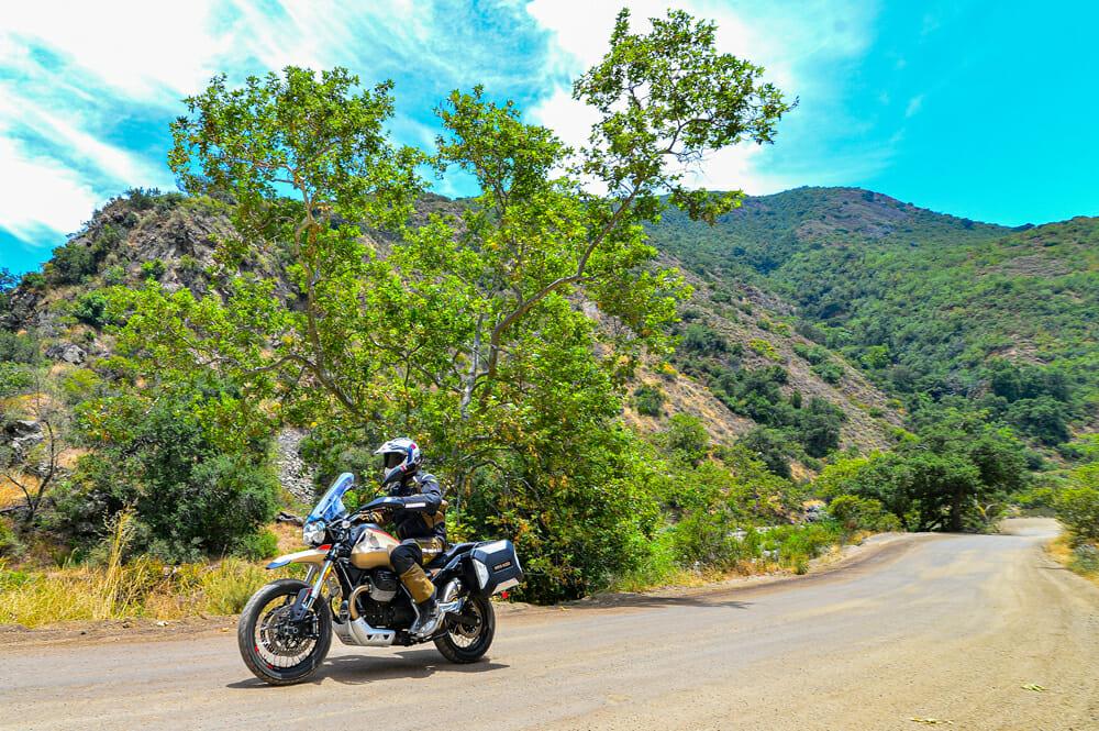 The 2020 Moto Guzzi V85 TT Travel can go off pavement.