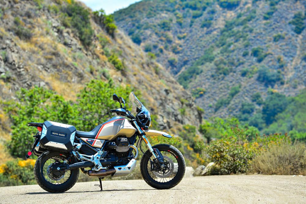 The 2020 Moto Guzzi V85 TT Travel in Sabbia Namib sand color scheme.