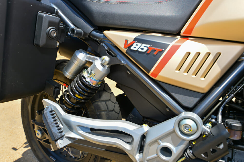 The 2020 Moto Guzzi V85 TT Travel's shock is adjustable for rebound and preload.