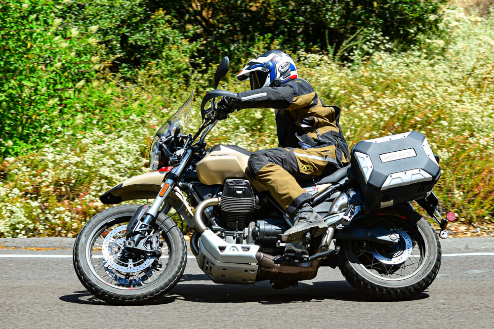 The 2020 Moto Guzzi V85 TT Travel streetbike weighs 554 pounds with fuel.