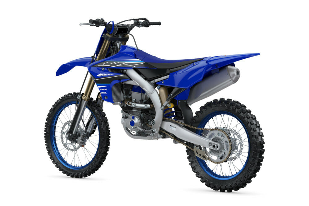 The 2021 Yamaha YZ450F in standard Yamaha Racing blue graphics