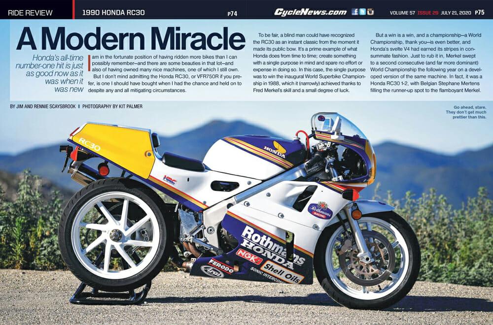 Cycle News 1990 Honda RC30 Review