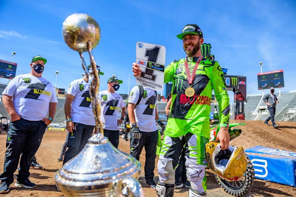 Eli Tomac celebrates his first 450 Supercross title.
