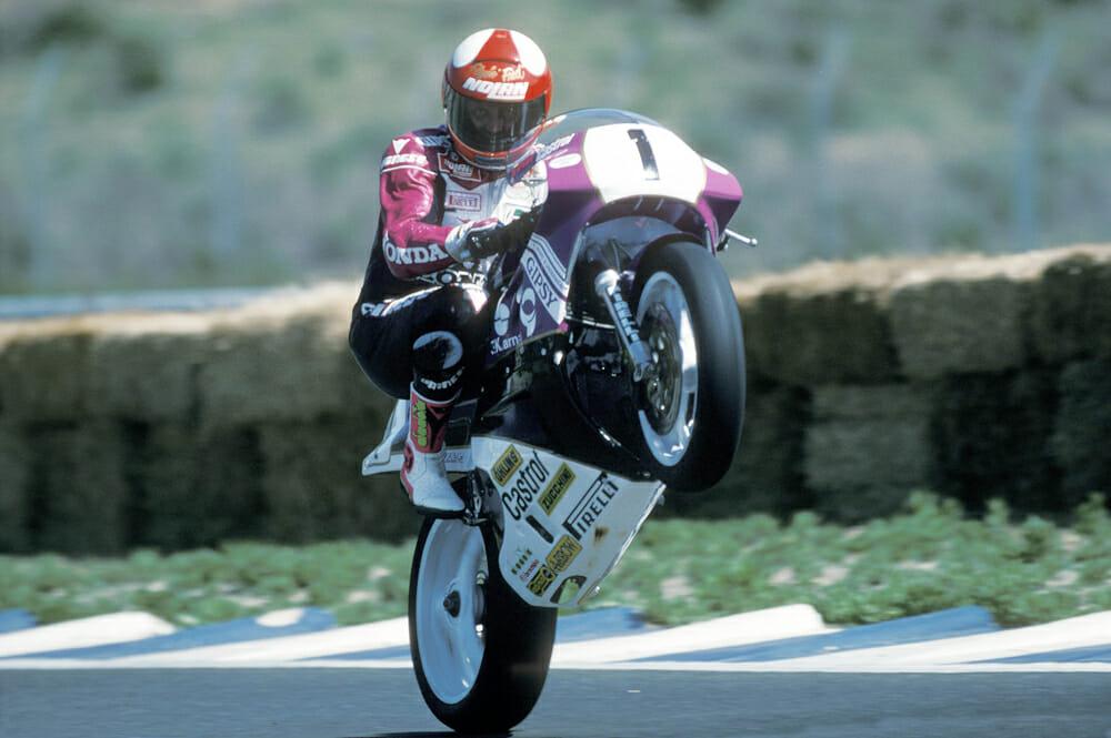 Flyin' Fred Merkel in 1989 on the Honda RC30.