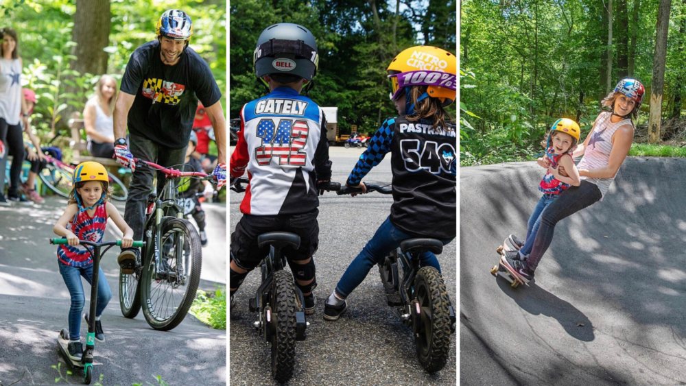 Pastrana family enjoying the pump track at their home in Annapolis, Maryland