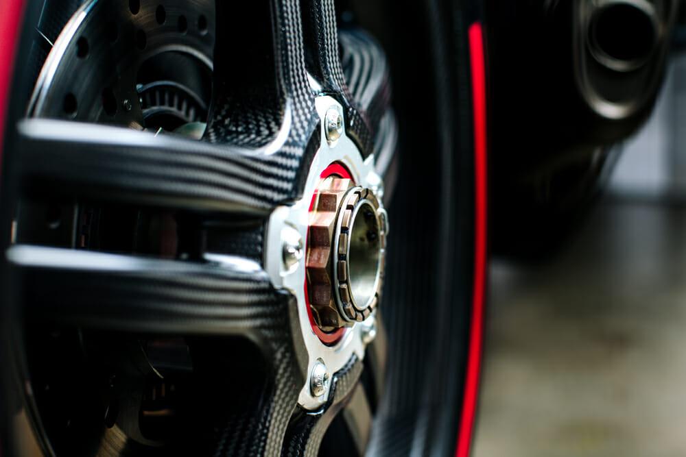 The carbon wheels on the 2020 Ducati Superleggera V4.