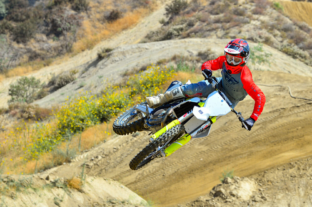 Cycle News test rider jumping the 2021 Husqvarna FC 450.