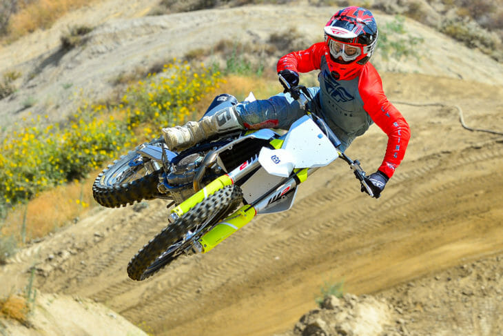 Cycle News test rider jumping the 2021 Husqvarna FC 450.