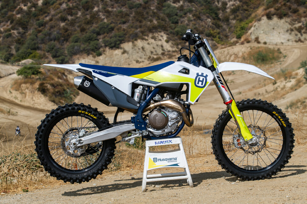Right side of the 2021 Husqvarna FC 450 MX motorcycle.