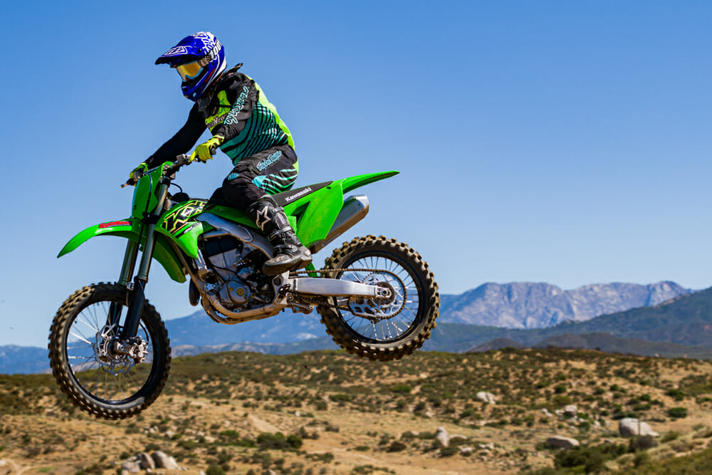 The 2021 Kawasaki KX450 is still one of the lightest bikes in its class.
