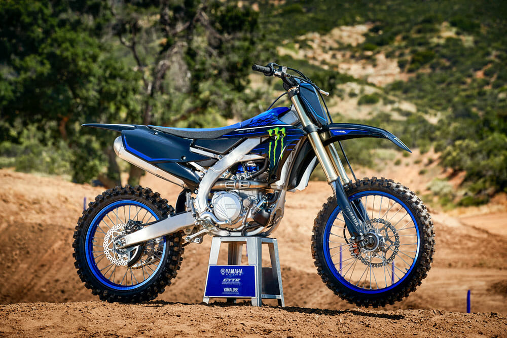 The 2021 Yamaha YZ450F Race Edition, right side view.