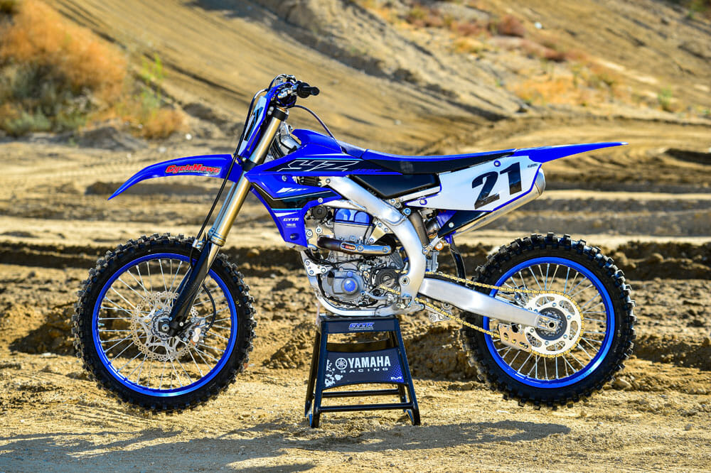 Left side of the 2021 Yamaha YZ450F
