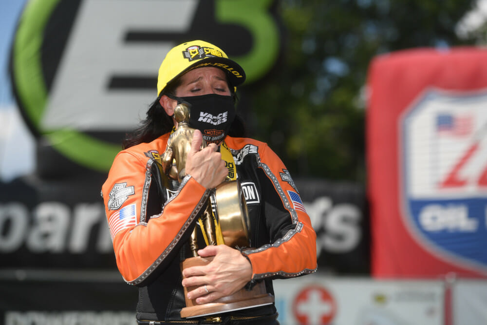 Angelle Sampey won her first NHRA race since 2016, and she did it on a Vance & Hines Harley-Davidson.