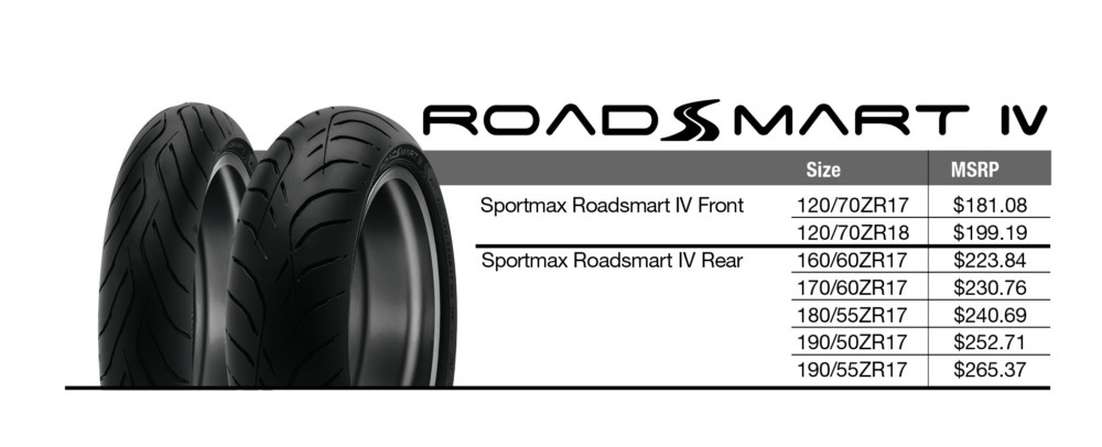 Dunlop Roadsmart IV sport-touring tire Sizes and MSRP chart