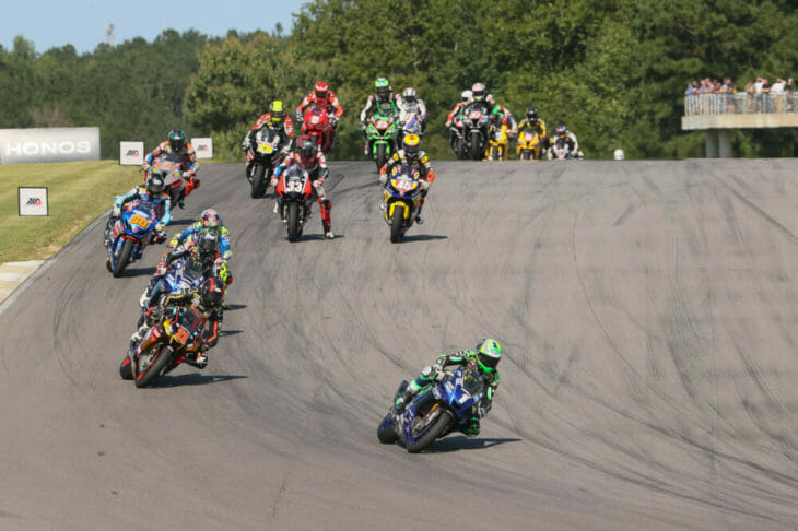 2020 Barber Motorsports Park MotoAmerica Results Sunday Superbike Cameron Beaubier Leading Pack Action