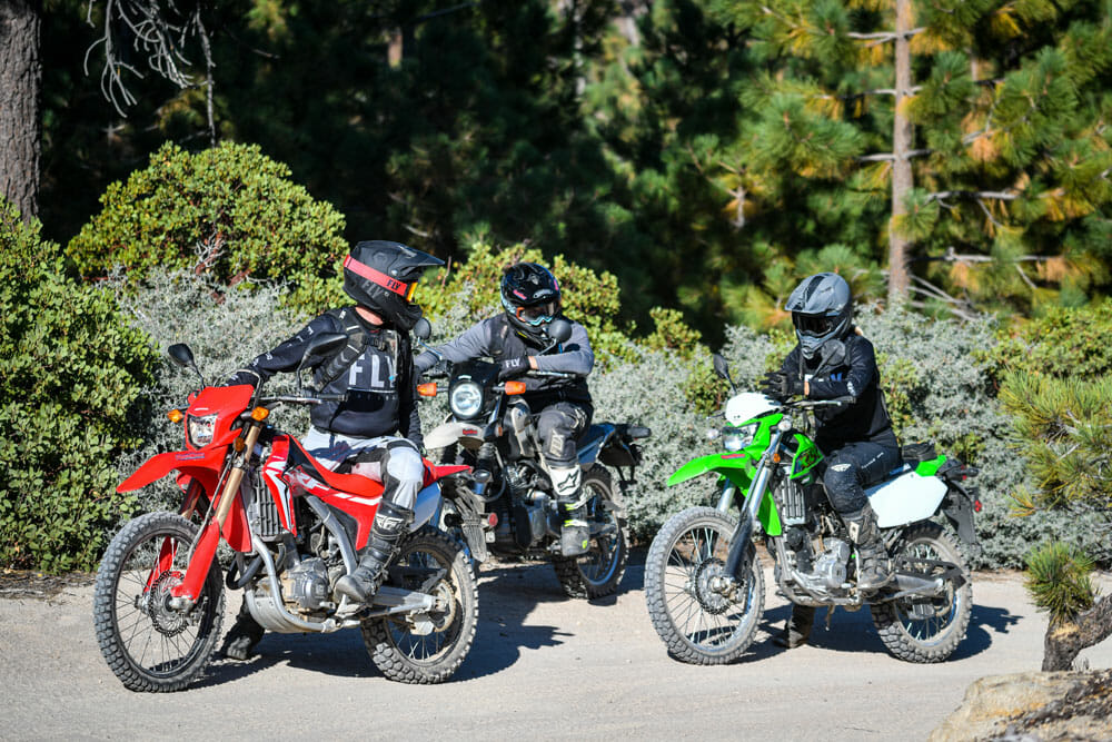 Dual sport riders on 2020 Honda CRF250L, Yamaha XT250 and Kawasaki KLX250 motorcycles