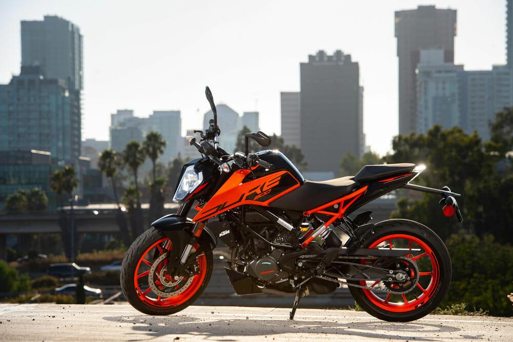 2020 KTM 200 Duke 2020 KTM 200 Duke left side view with city backdrop