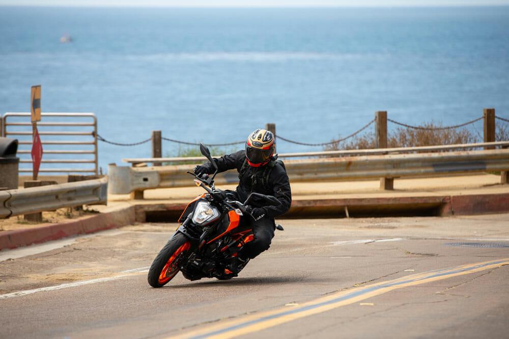 riding the 2020 KTM 200 Duke along the coast.