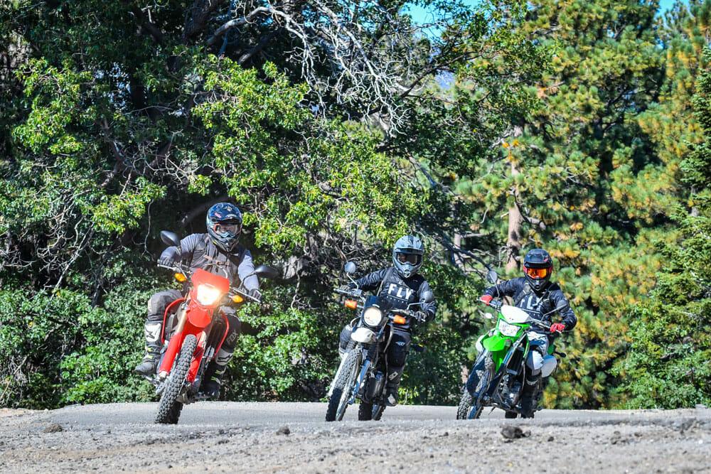 2020 Honda CRF250L and Yamaha XT250 and Kawasaki KLX250 riding on trail