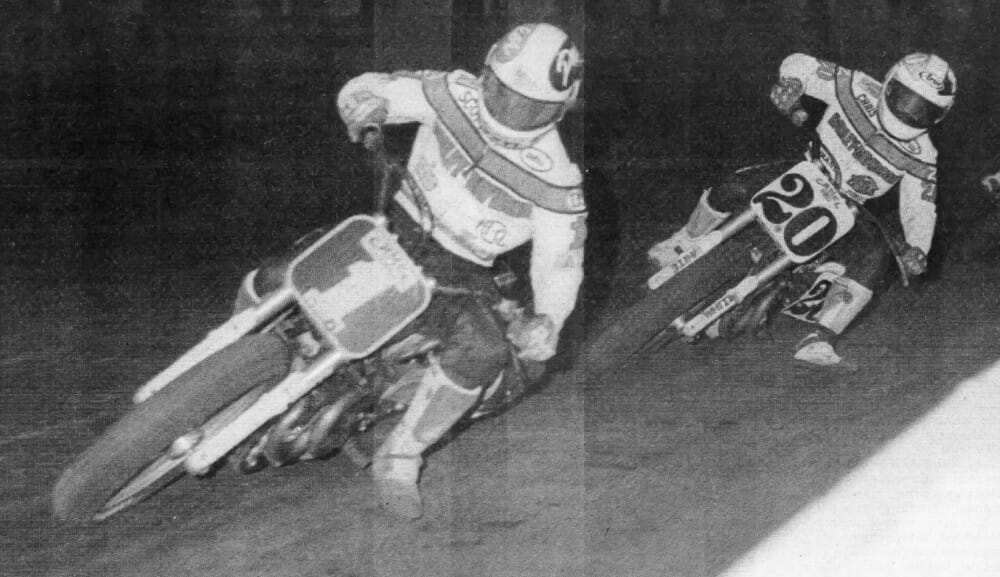 Chris Carr (20) chases rival Scott Parker (1) in 1992