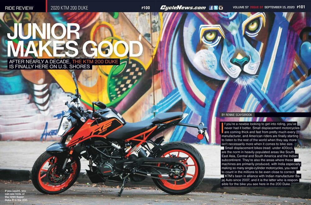 Cycle News 2020 KTM 200 Duke Review