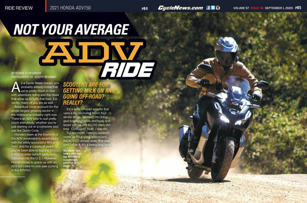 Cycle News Magazine 2021 Honda ADV150 Review