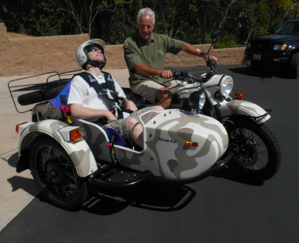 Tom bought this Russian-made Ural sidecar to that he could take his paralyzed son Brad riding with him.