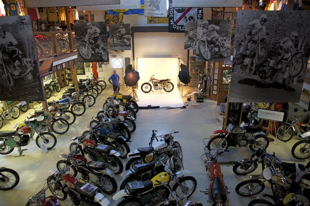 Tom White getting ready for a photo shoot in his Early Days of Motocross Museum.