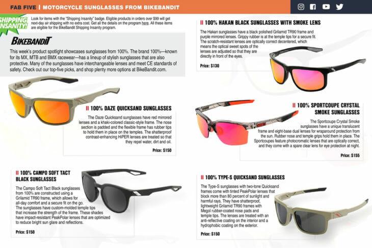100% Motorcycle Sunglasses from BikeBandit