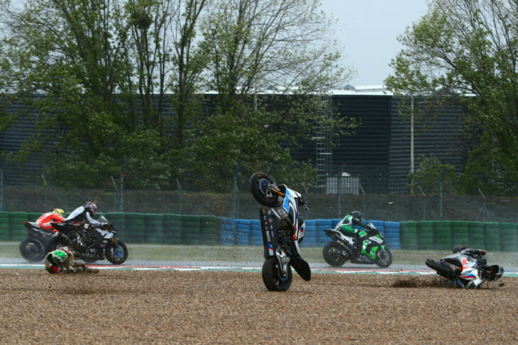 2020 French WorldSBK Results race one crash