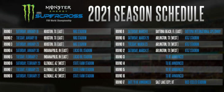 2021 AMA Supercross Schedule
