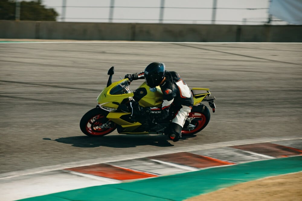 Aprilia RS 660 unveiled on the streets of the West Coast at Laguna Seca with Cycle News Road Test Editor and Pikes Peak record holder Rennie Scaysbrook
