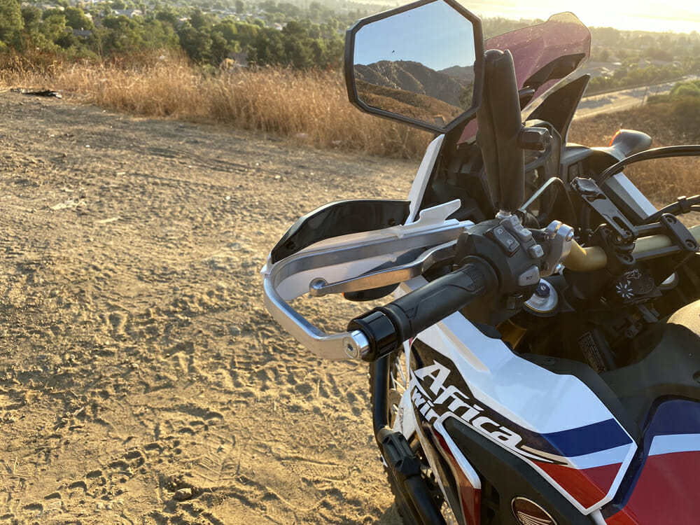 Barkbuster VPS Two-Point-Mount Handguards Installed on Africa Twin motorcycle