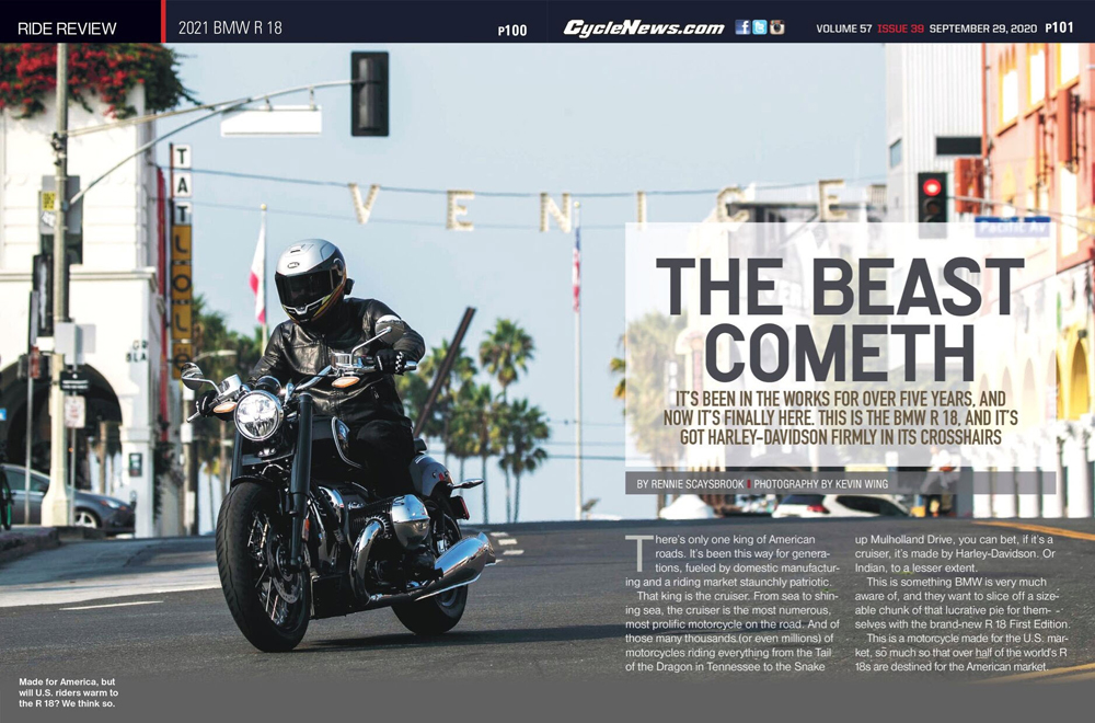 Cycle News review of the 2021 BMW R 18 cruiser