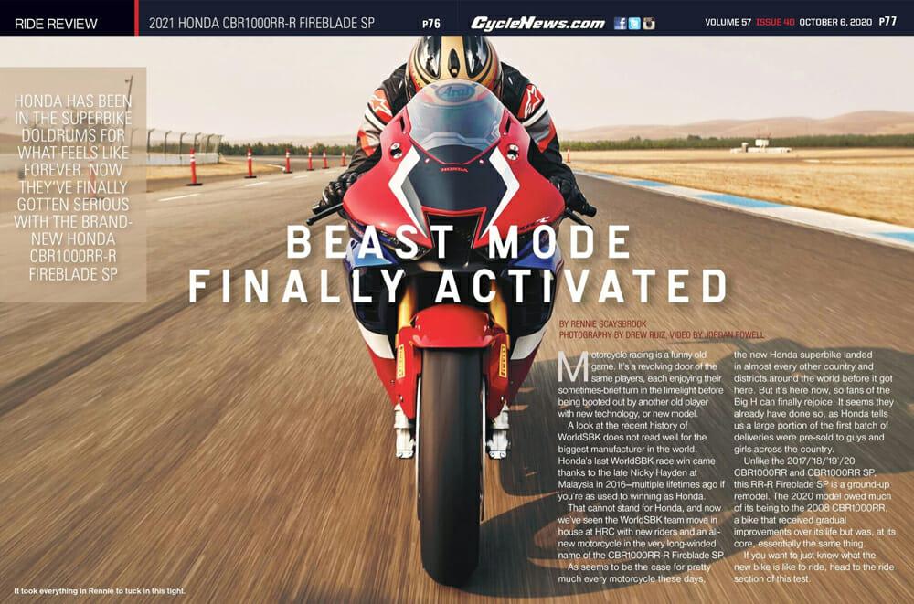 Cycle News 2021 Honda CBR1000RR-R Fireblade SP Review
