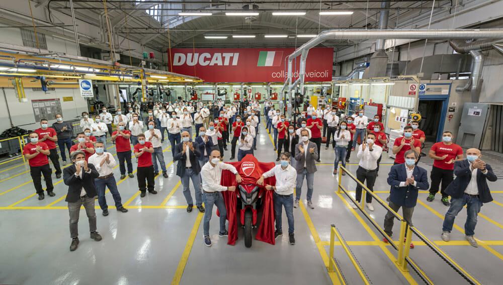 Ducati Multistrada V4 with radar technology development team