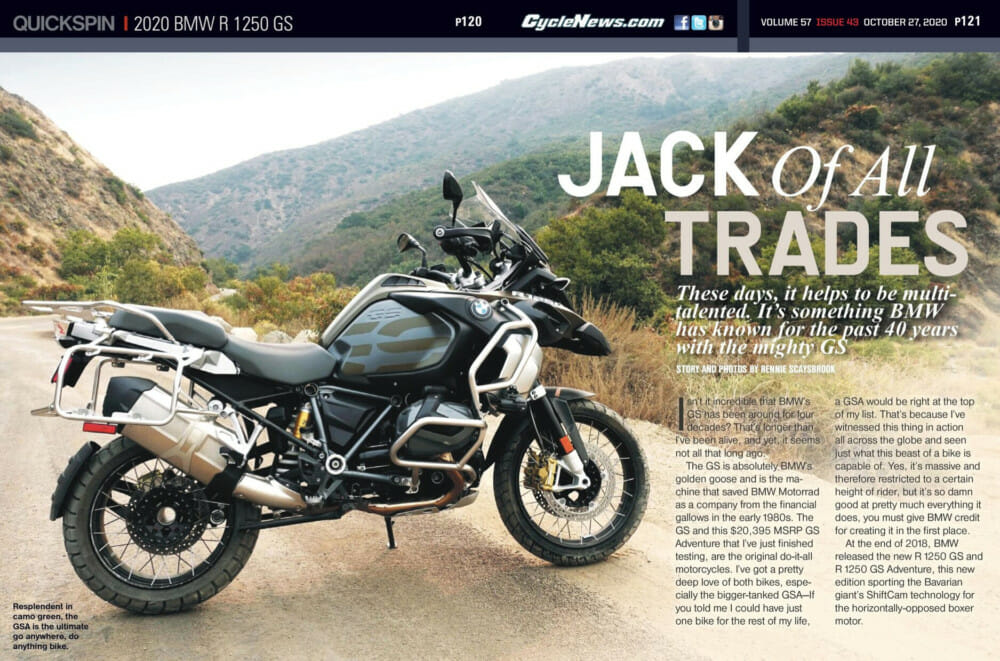 Cycle News 2020 BMW R 1250 GS Review