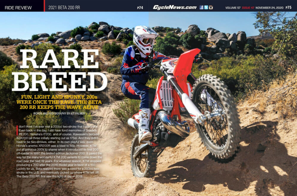 Cycle News Magazine review of 2021 Beta 200 RR