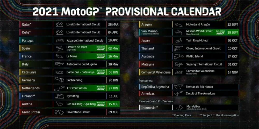 2021 MotoGP Schedule Updated