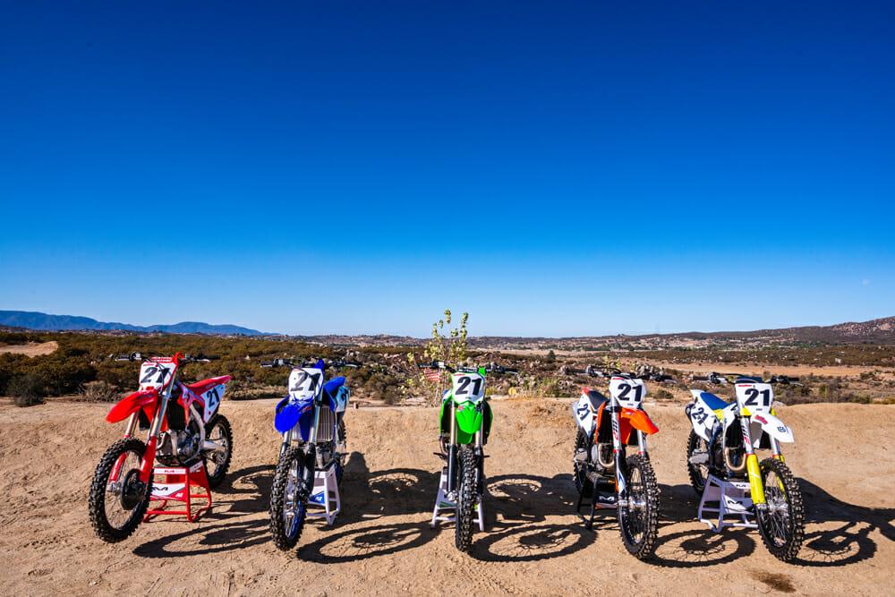 Cycle News 2021 450 Motocross Shootout bikes