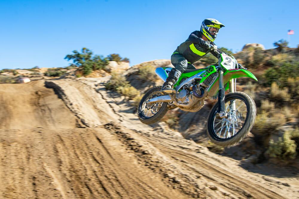 2021 Kawasaki KX450 on motorcross track
