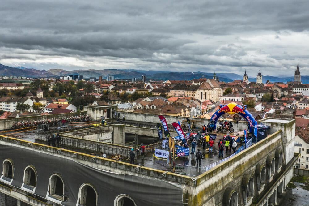 Finish line of Red Bull Romaniacs in Sibiu, Romania on October 31, 2020.