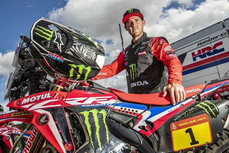 Ricky Brabec and his Monster Energy Honda rally bik